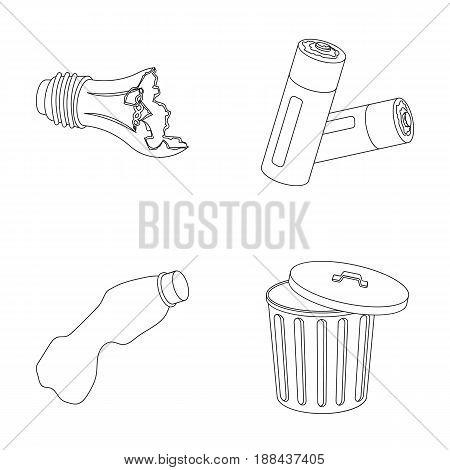 Broken light bulb, used batteries, breaking a plastic bottle, garbage can with a sign.Garbage and trash set collection icons in outline style vector symbol stock illustration .