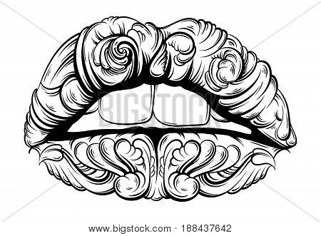 Vector illustration of surreal lips made in hand drawn style. Tattoo art. Creative fairy artwork with elements of baroque. Template for card poster banner print for t-shirt.