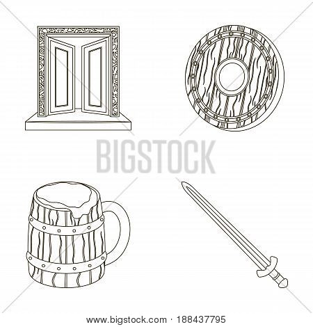 A gate to the treasure, a shield for protection, a mug with a bra, a sword. Vikings set collection icons in outline style vector symbol stock illustration .