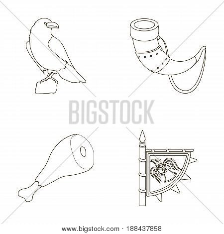 Sitting crow, horn with drink, ham, victory flag. Vikings set collection icons in outline style vector symbol stock illustration .