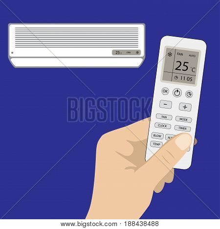 Remote control of air conditioner in hand and white air conditioning, on blue background, flat vector illustration