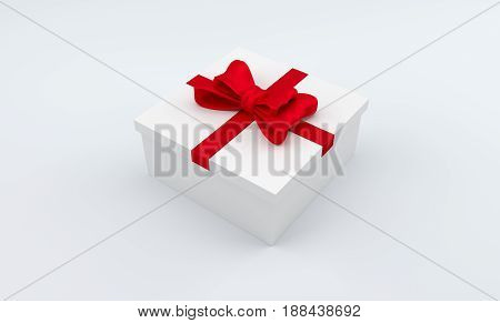 3D square gift box with red bow. Blank white box with ribbon. 3D rendering.