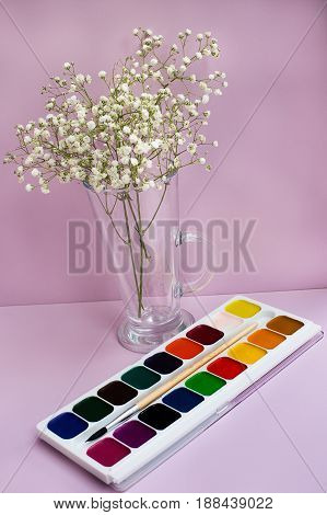 Gypsophila In Vase And Watercolor Paints
