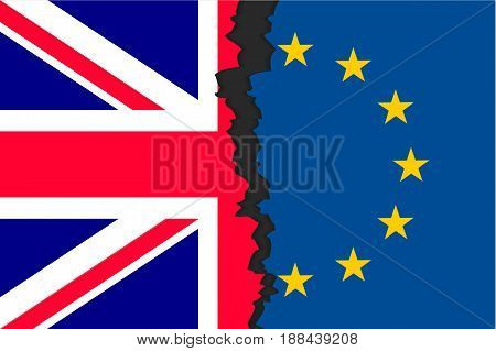 The United Kingdom's withdrawal from the European Union, British exit decision, two parts of flags, historic referendum result. Vector flat style illustration