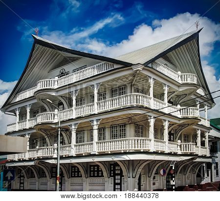 Exterior of house in the historic city of Paramaribo Suriname. The historic inner city of Paramaribo is a UNESCO World Heritage Site since 2002.