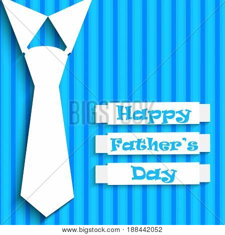 Illustration of white collar and tie with happy father's day text