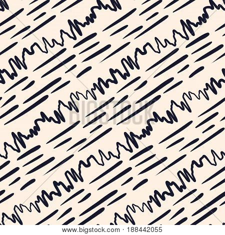 Seamless hand drawn lines vector pattern. Monochrome abstract geometric ornament