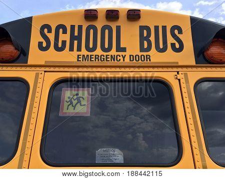 American school bus back side emergency door