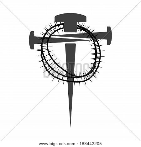 Cross of nails on white background, symbol of Golgotha