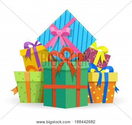 Presents or gifts boxes isolated on white background. Wrapped presents vector illustration for happy holiday or birthday design