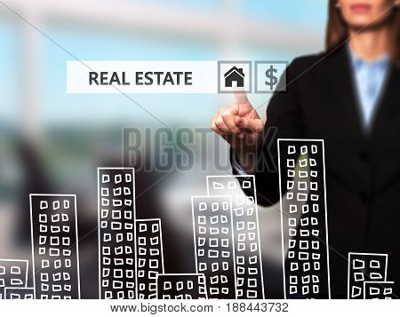 Real estate agent pressing button on virtual screen. Women finger on home icon. Business technology concept. Isolated on office. Stock Image