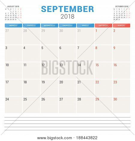 September 2018. Calendar Planner Vector Design Template. Week Starts On Monday. Stationery Design
