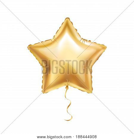 Gold star balloon on background. Party balloons event design decoration.