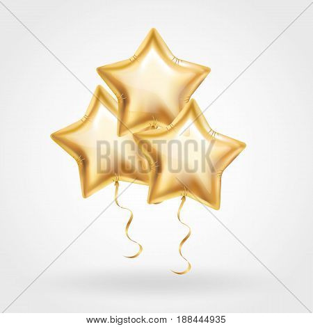 3 Three Gold star balloon on background. Party balloons event design decoration.