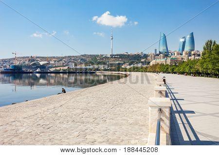 Baku boulevard at the Caspian Sea embankment. Baku is the capital and largest city of Azerbaijan. poster