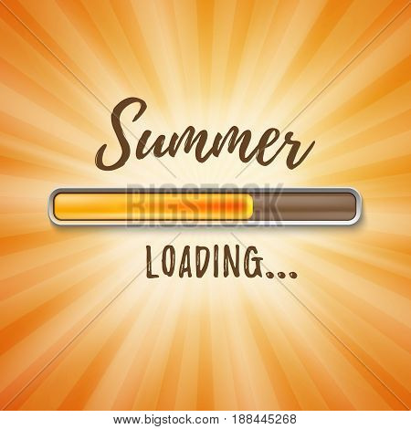 Summer loading bar orange background with sun rays. Vector illustration.