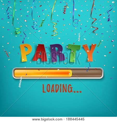 Party loading poster template with confetti and colorful ribbons on blue background. Vector illustration.