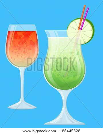 Two Fruit Cocktails in Transparent Glasses. Tropical Drinks