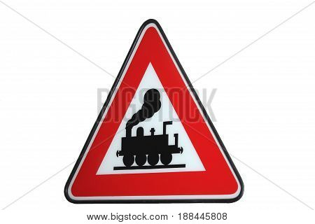 triangle shield with red frame showing a steam locomotive