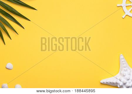 Summer holiday vacation background with starfish rudder and green leaf of palm. Copy space. Top view