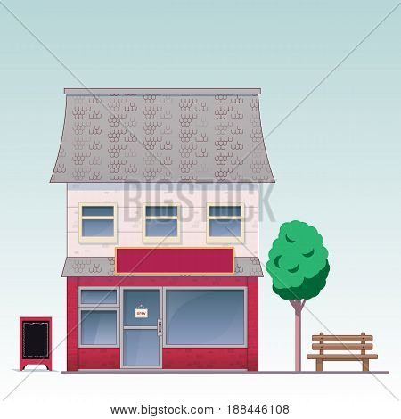Facade of the house executed in a cartoon style. Suitable for the design of various establishments. Such as: shop, coffee shop, flower shop, vegetable store, barber, pharmacy, boutique,toy store.
