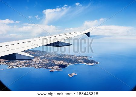 view from the window of an airplane on ibiza.