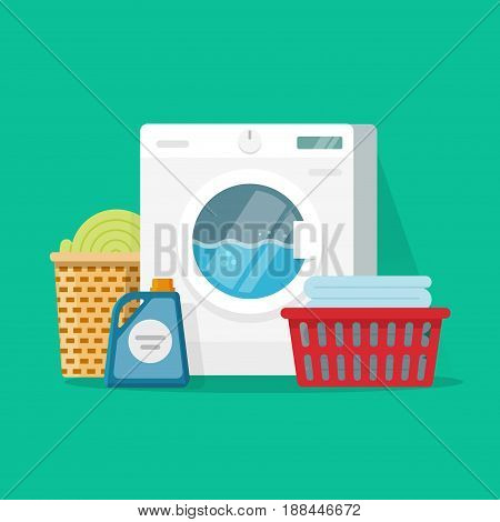 Laundry room service vector illustration, flat cartoon working washing machine with linen baskets and detergent isolated on color background