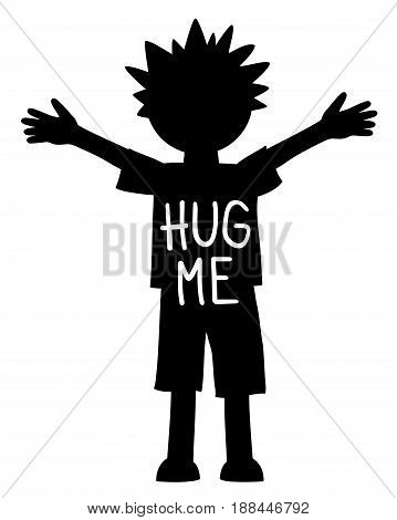 Hug me written on the young boy with open arms and hands, black and white vector