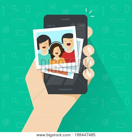 Photo gallery on mobile phone flat cartoon style, photo album on smartphone vector illustration, photography of family on cellphone