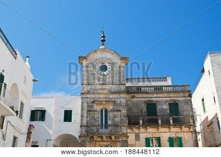 Perspective of the Clocktower of Cisternino. Puglia. Italy.