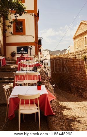 Ibiza Balearic Spain old town in spring.