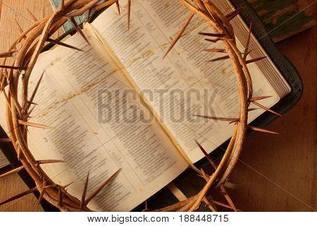 Crown Of Thorns On Wood Desk