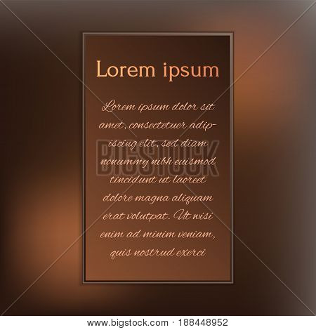 gorgeous dark chocolate design templates for your invitation or cover or poster background. Vector art.