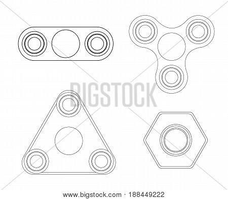 Hand spinner tricks. Hand spinner flat vector illustration. Vector illustration isolated on white background.