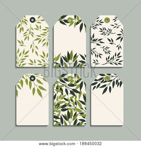 Vector set of labels with a pattern of green branches with leaves. Gift tags and stickers with fresh summer design for scrapbooking Congratulations Invitations Planner Diary Notes