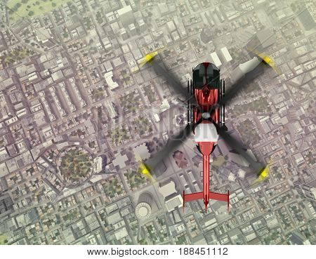 helicopter is flying from above city. top view. 3d rendering