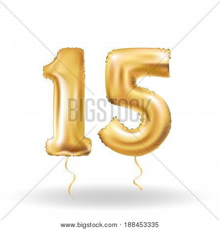 Golden number fifteen metallic balloon. Party decoration golden balloons. Anniversary sign for happy holiday, celebration, birthday, carnival, new year. Metallic design balloon.