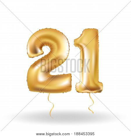 Golden number twenty one metallic balloon. Party decoration golden balloons. Anniversary sign for happy holiday, celebration, birthday, carnival, new year. Metallic design balloon.