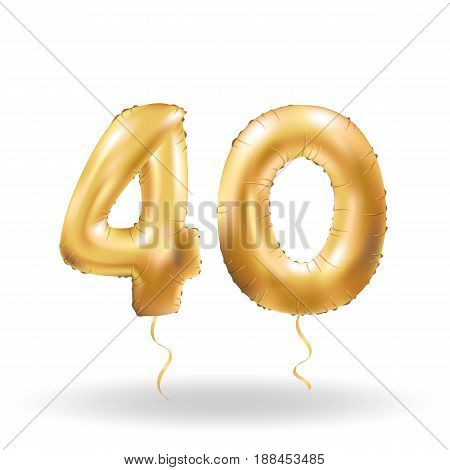 Golden number forty metallic balloon. Party decoration golden balloons.