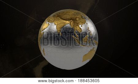 High Detailed Metallic Globe. Displacement Reflective Surface.