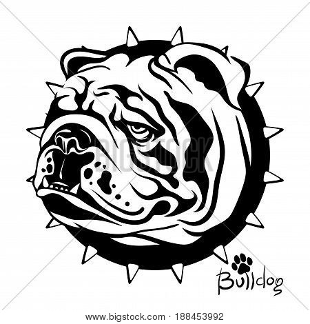 Logo, vector illustration, black and white drawing drawing of a dog of breed English Bulldog, on a background of a collar