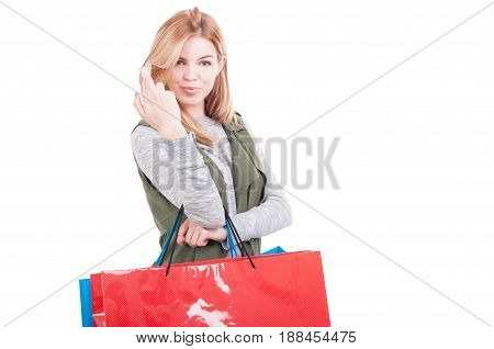Shopping Female Holding Bags And Wishing Good Luck