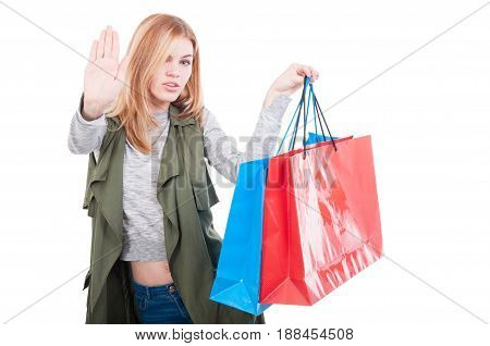 Shopping Girl With Colored Gift Bags