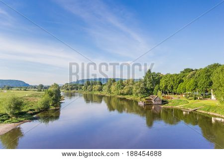 River Weser and old wooden mill near Minden Germany