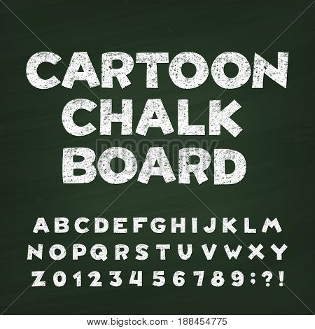 Cartoon chalk board alphabet font. Hand drawn letters, numbers and symbols. Vintage vector typeface for your design. Distressed green background.