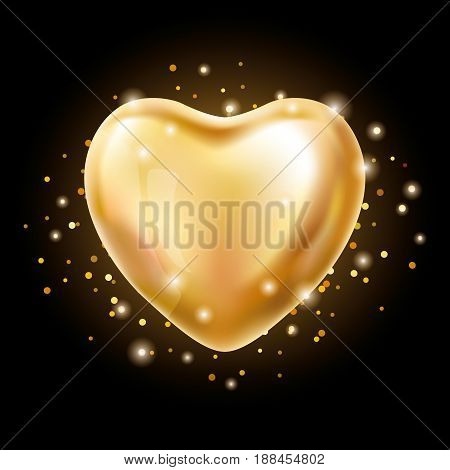 Heart Gold balloon on black background. party balloons event design. Balloons isolated in the air. Party decorations wedding, birthday, celebration, love, valentines. Shine transparent balloon