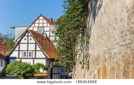 Half-timbered Houses And City Wall In Minden