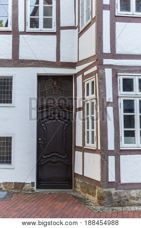 Door Of A Historic Half-timbered House In Minden