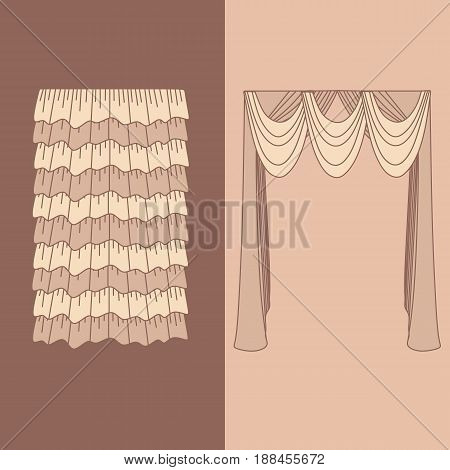 design ideas realistic icons collection isolated vector illustration  curtains and draperies interior decoration