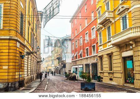 Old street in Parma Emilia-Romagna Italy. Architecture.